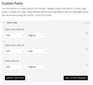 Custom font settings