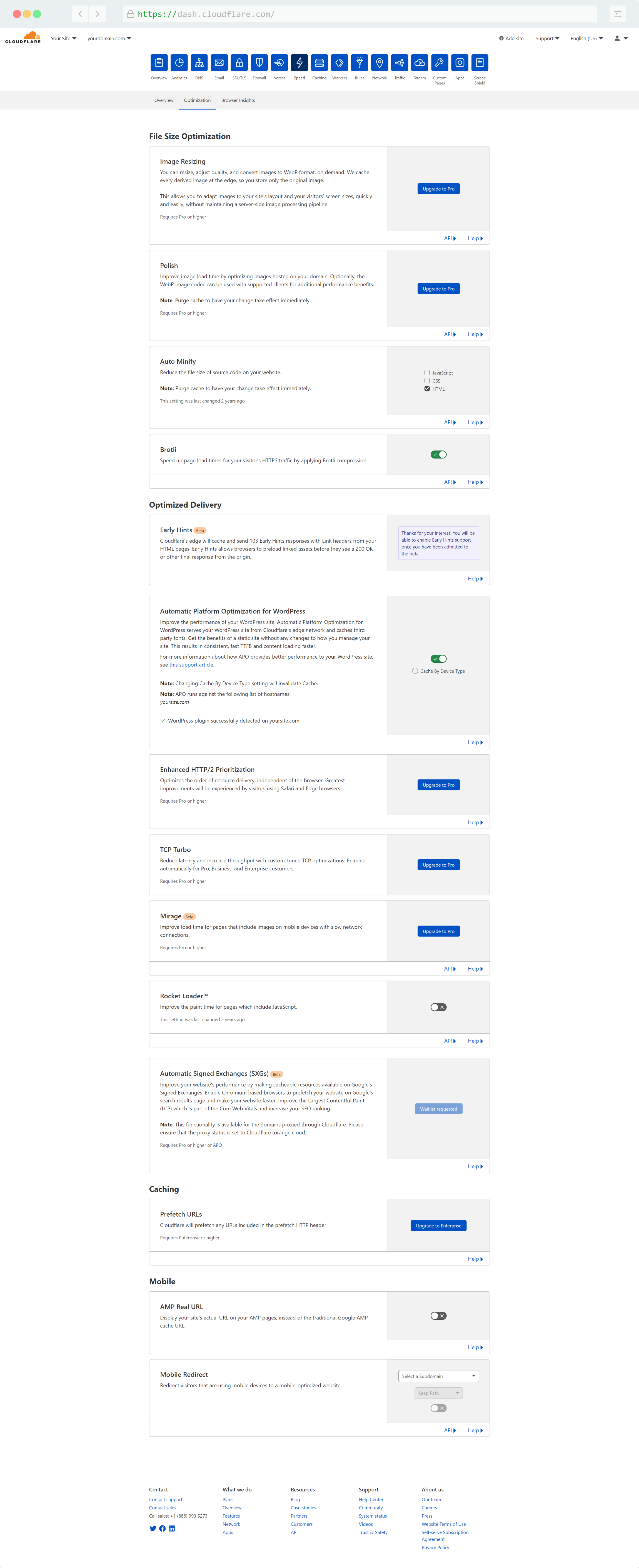 Cloudflare Speed Settings