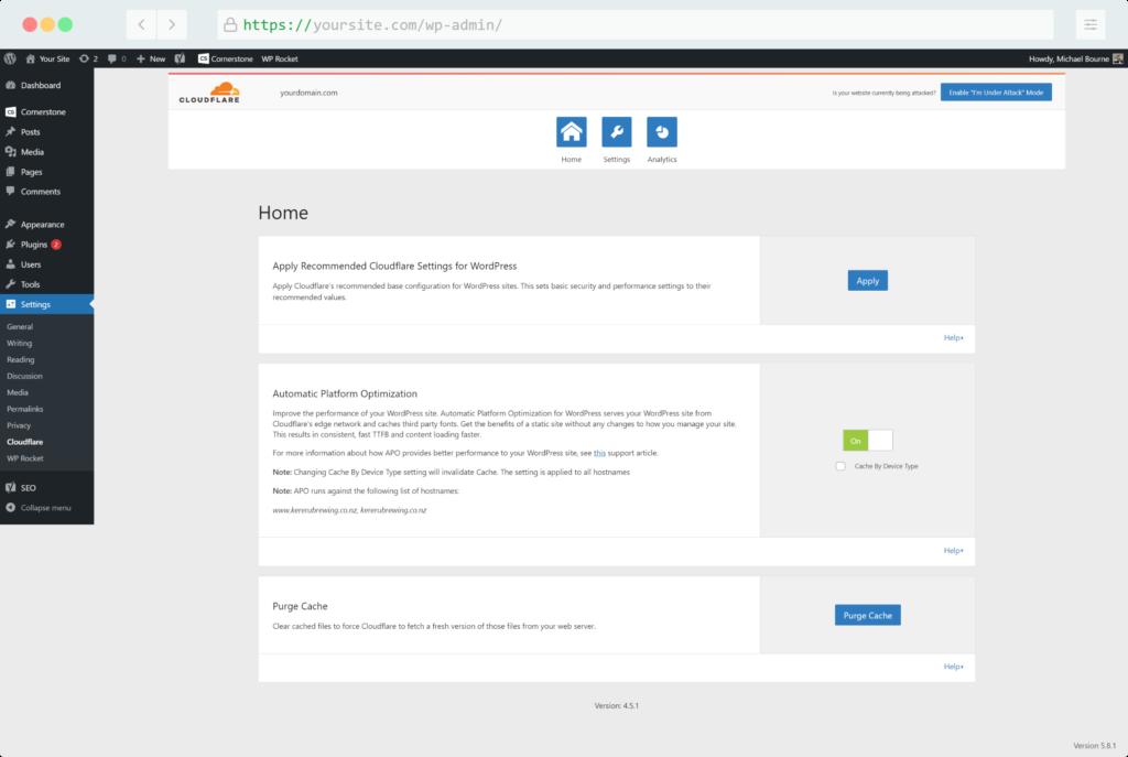 Cloudflare WordPress plugin settings